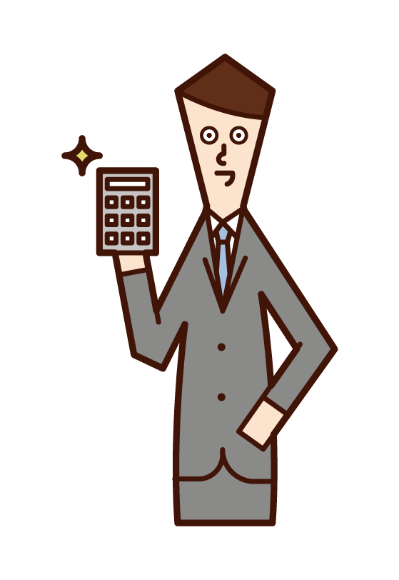 Illustration of a man making an estimate with a calculator