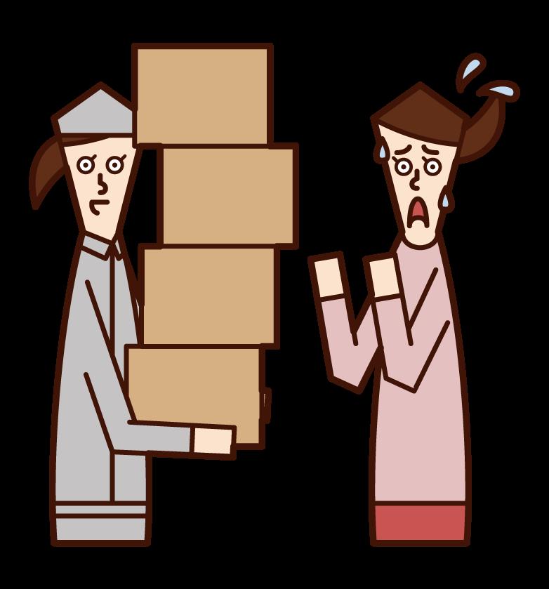 一個人(女性)的插圖,他收到了很多產品,他沒有訂購,並感到不耐煩