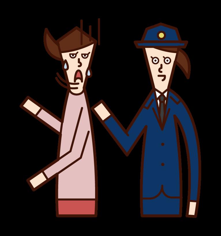 職務質問する警察官(女性)のイラスト
