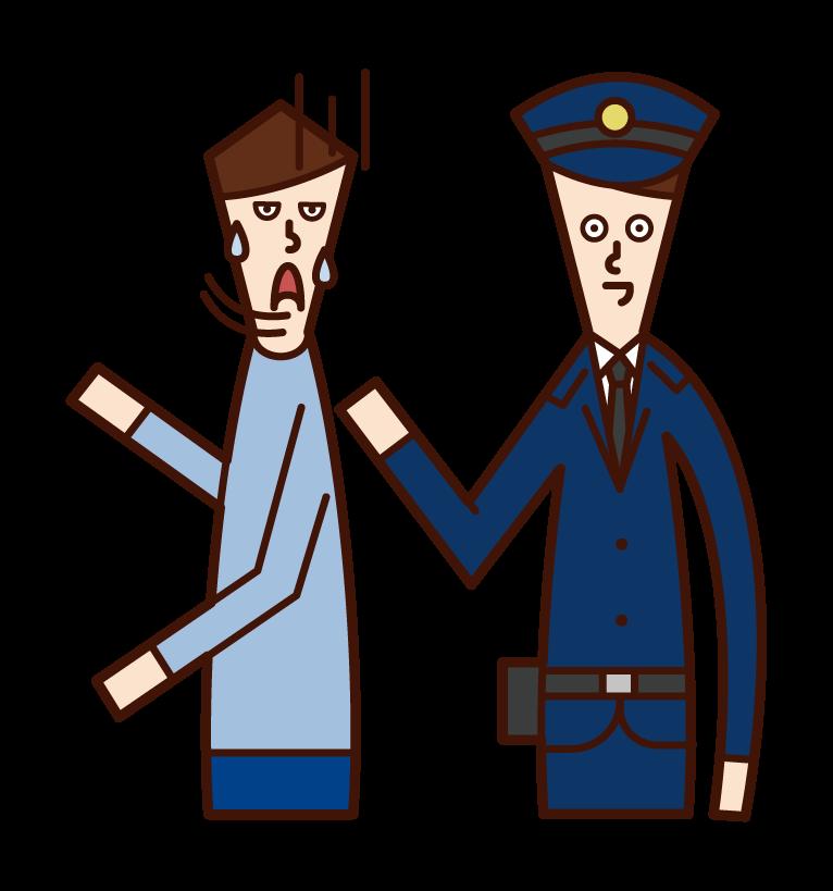 職務質問する警察官(男性)のイラスト