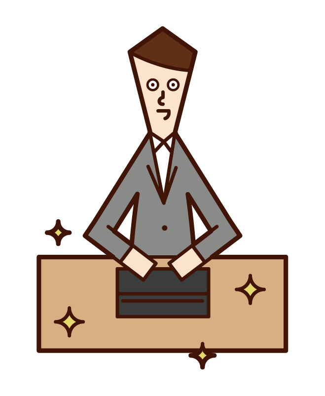 Illustration of a person (man) who is good at organizing and organizing people with a beautiful desk