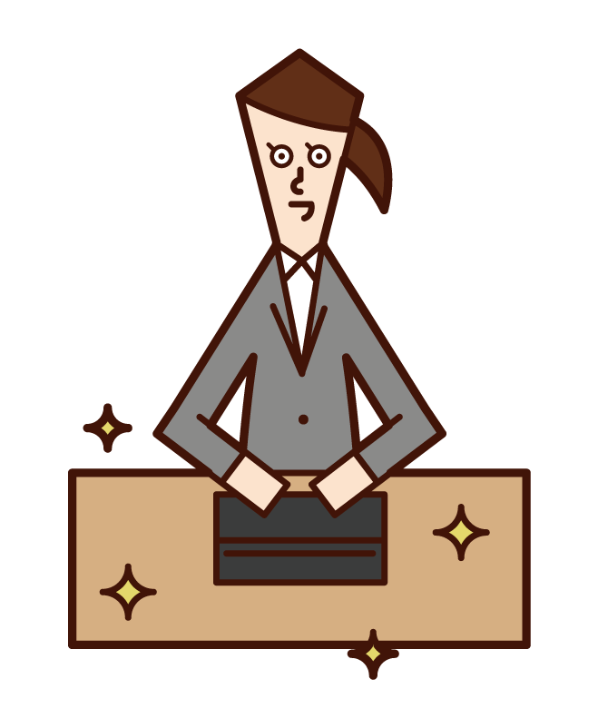 Illustration of a person (woman) who is good at organizing and organizing people with a beautiful desk