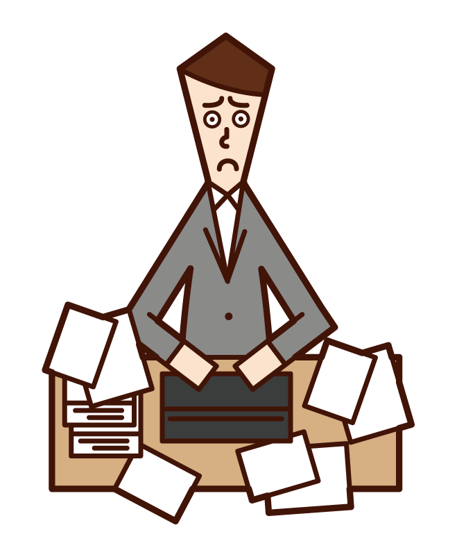 Illustration of a man who can't be organized