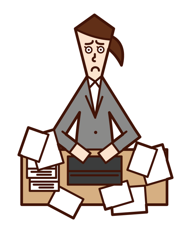 Illustration of a person (woman) who can not be organized