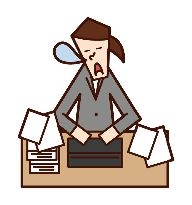 Illustration of a woman sleeping at work
