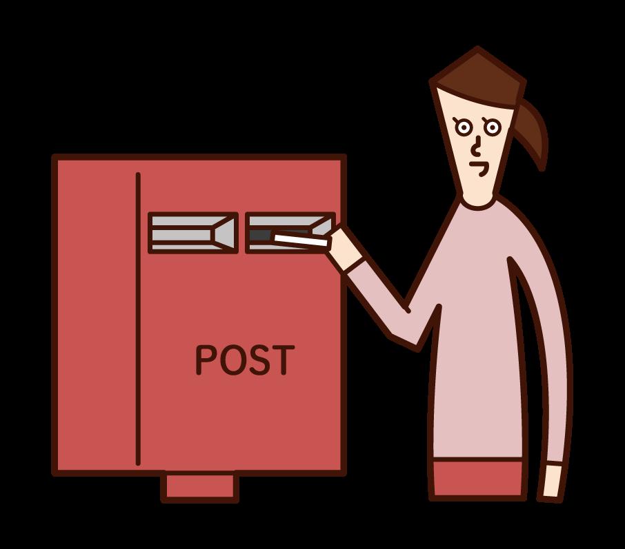 將郵件寄到郵箱的人(女性)的插圖