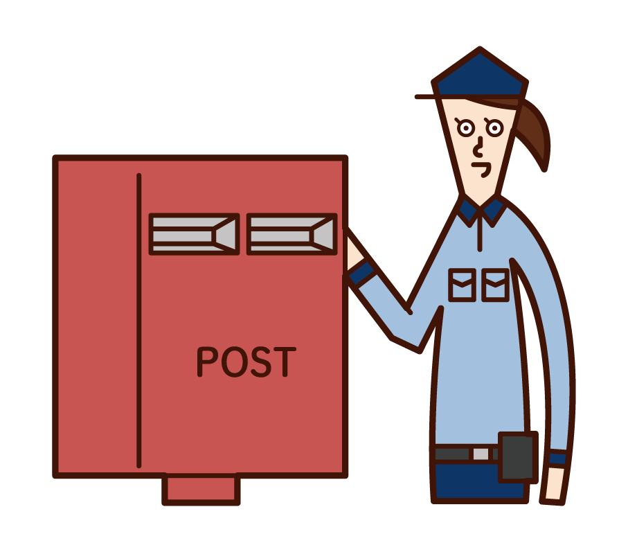 Illustration of a post office worker (woman) collecting mail