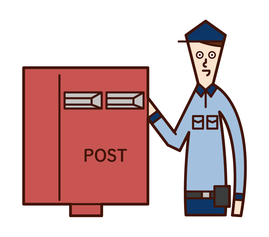 Illustration of a post office worker (male) collecting mail