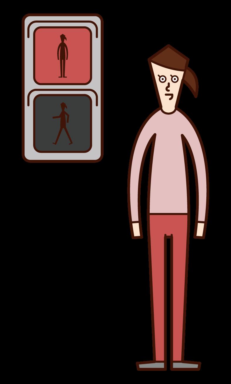 在紅燈前停車的人(女性)的插圖