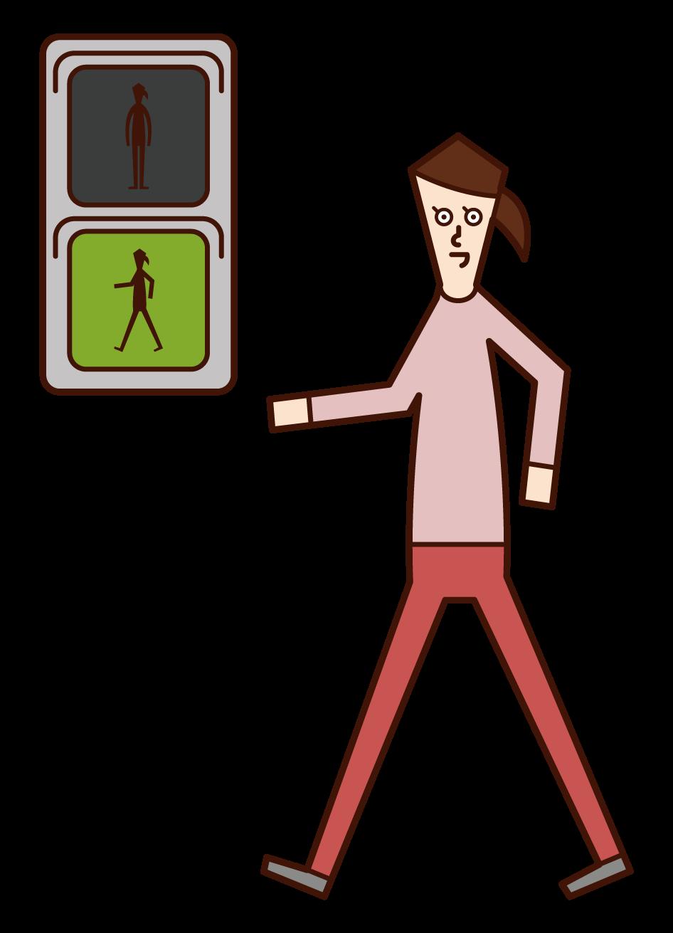 在綠燈前行的人(女性)的插圖