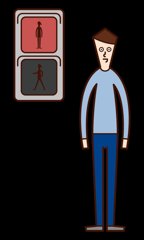 在紅燈前停車的人(男性)的插圖