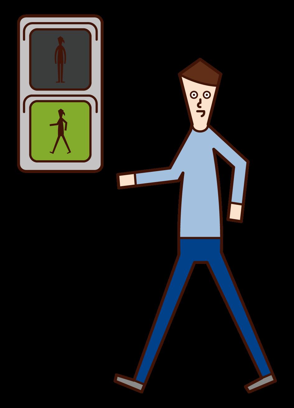 在綠燈前行的人(男性)的插圖