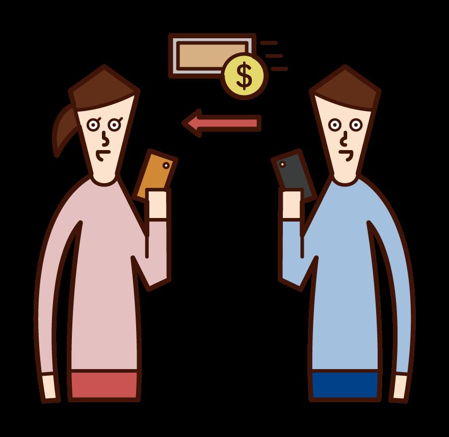 전자 화폐를 보내는 사람 (남성)의 그림