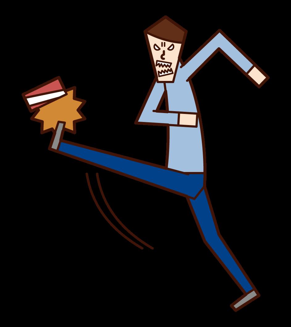 踢空罐子的人(男性)的插圖