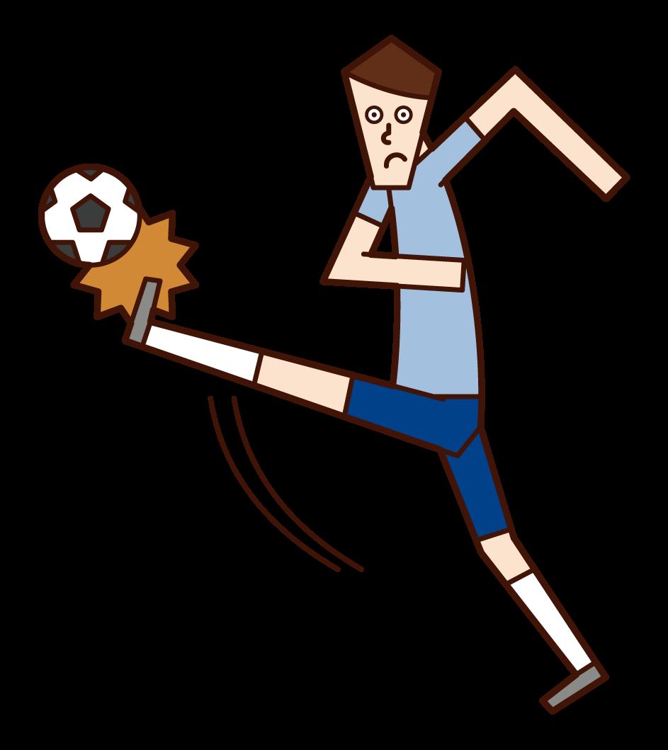 Illustration of a man kicking a soccer ball
