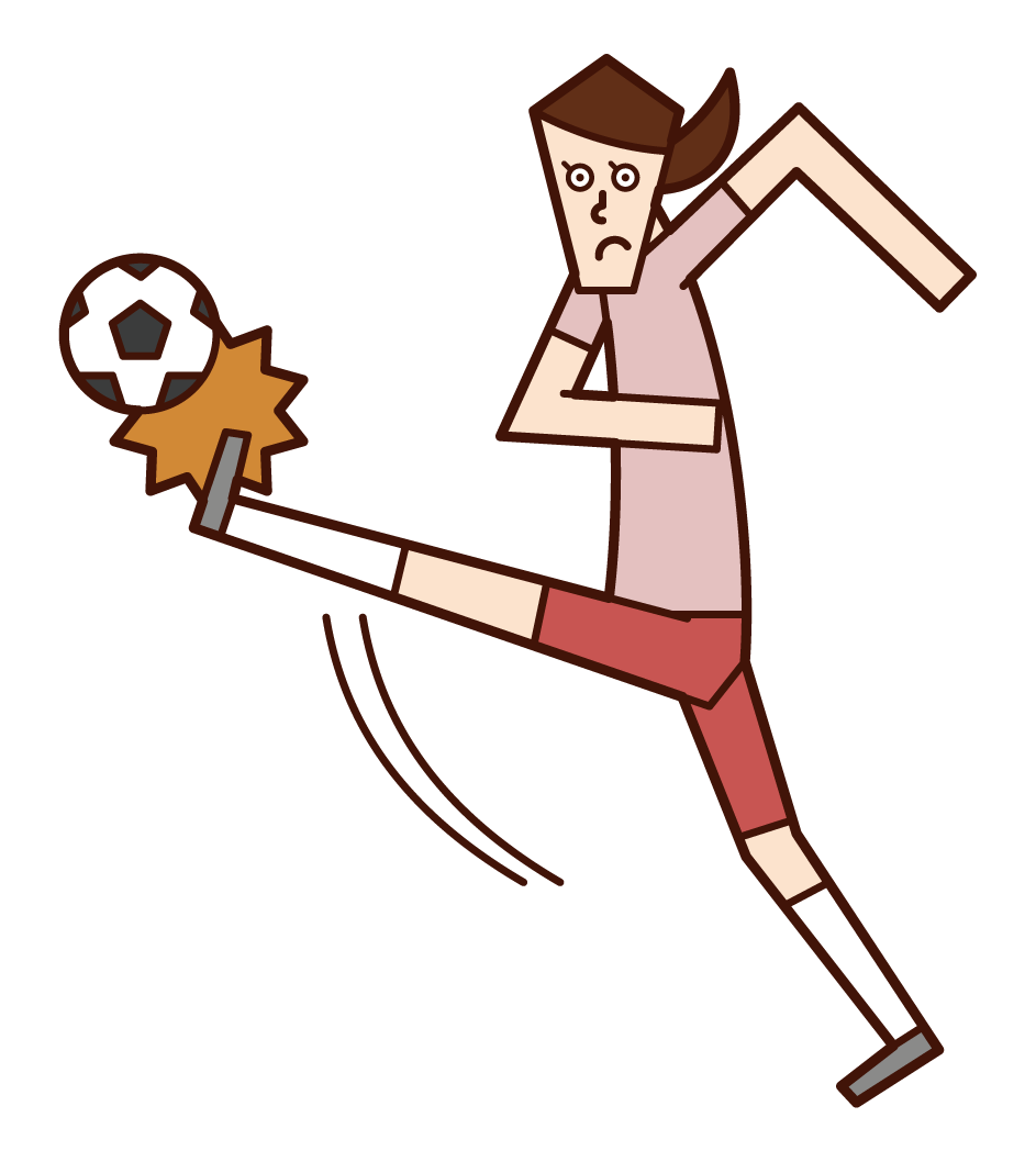 Illustration of a woman kicking a soccer ball