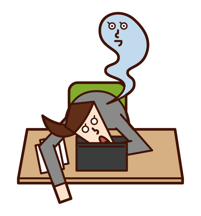 過度勞累死亡的人(女性)的插圖