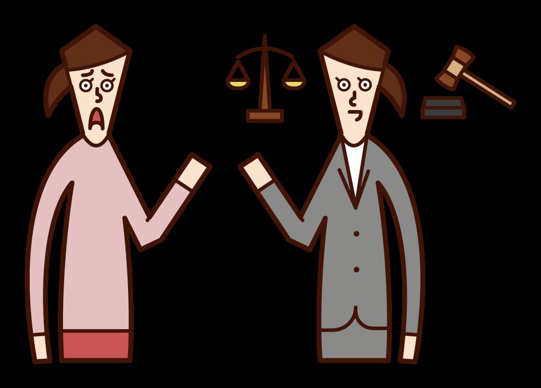 律師(女性)的插圖,諮詢