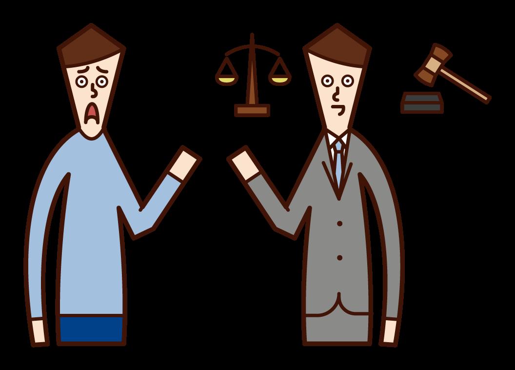 律師(男性)的插圖,誰採取諮詢