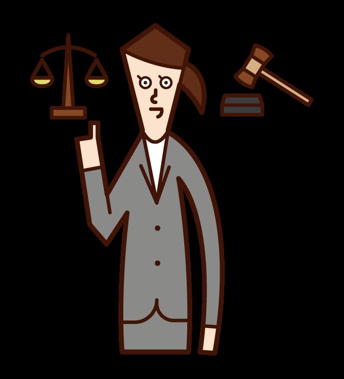 Illustration of a lawyer (female) defending