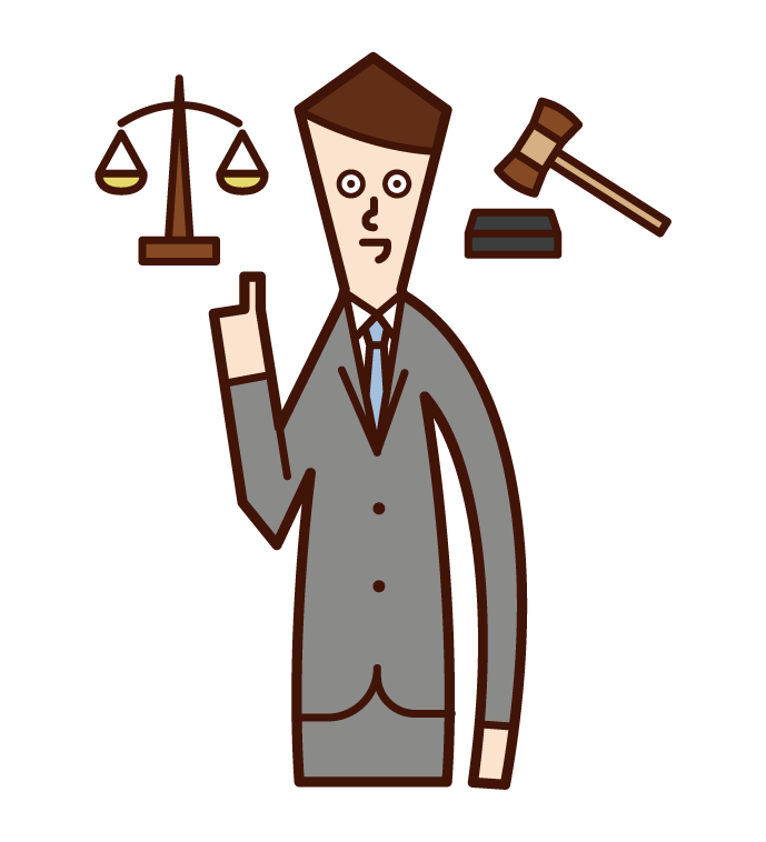 Illustration of a lawyer (male) defending