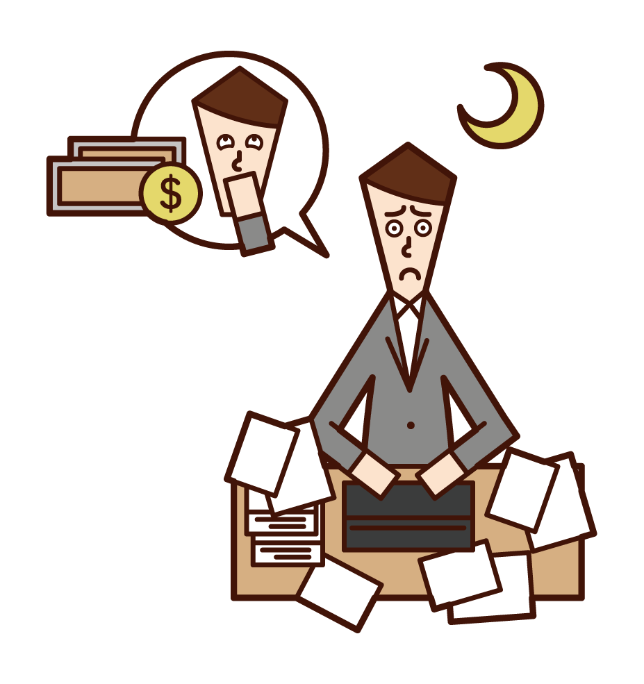 Illustration of a man working overtime for money