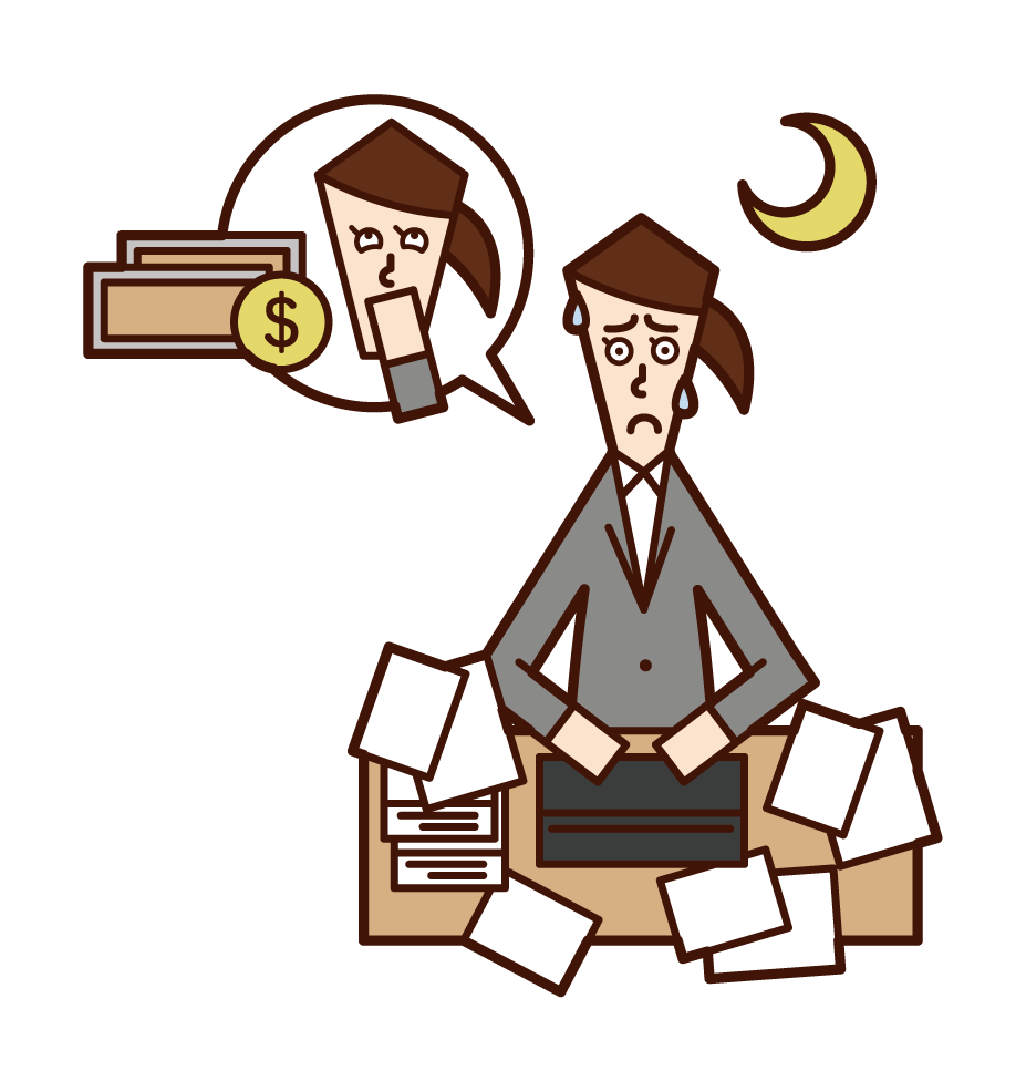 Illustration of a woman working overtime for money