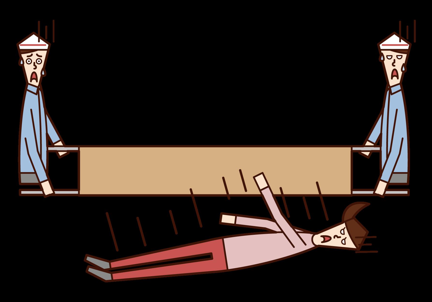 從擔架上摔下來的人(女性)的插圖