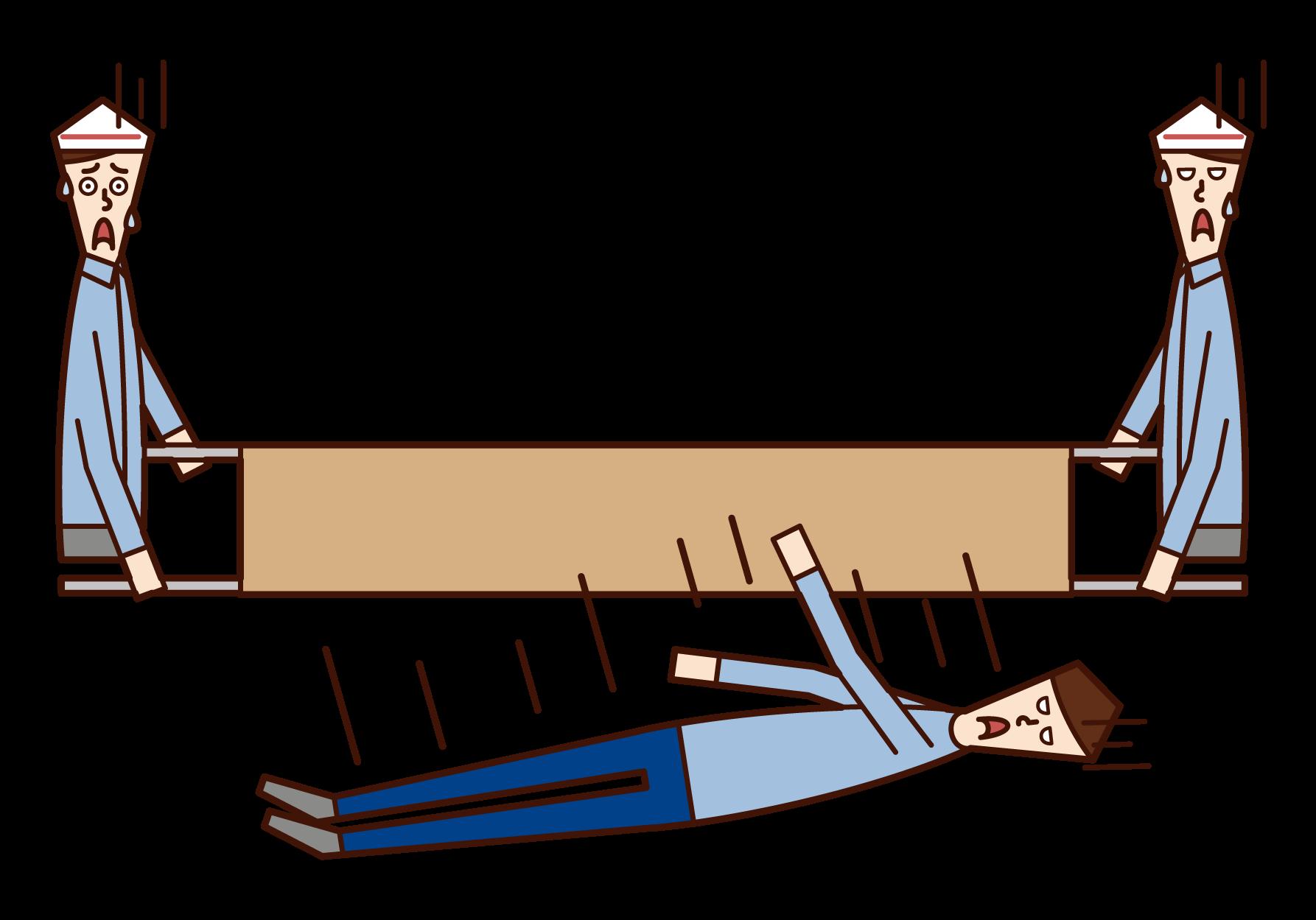 從擔架上摔下來的人(男性)的插圖