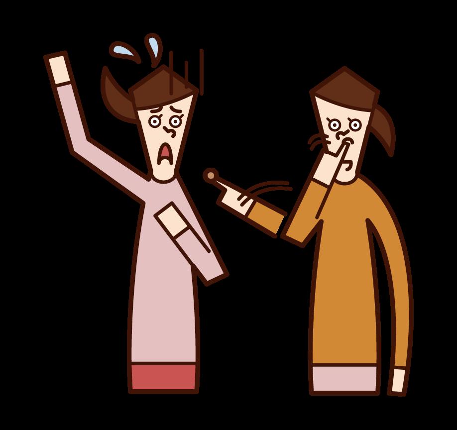 鼻くそをなすりつける人(女性)のイラスト