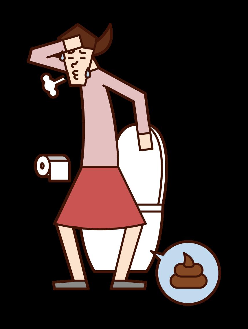 排便和清爽的人(女性)的插圖