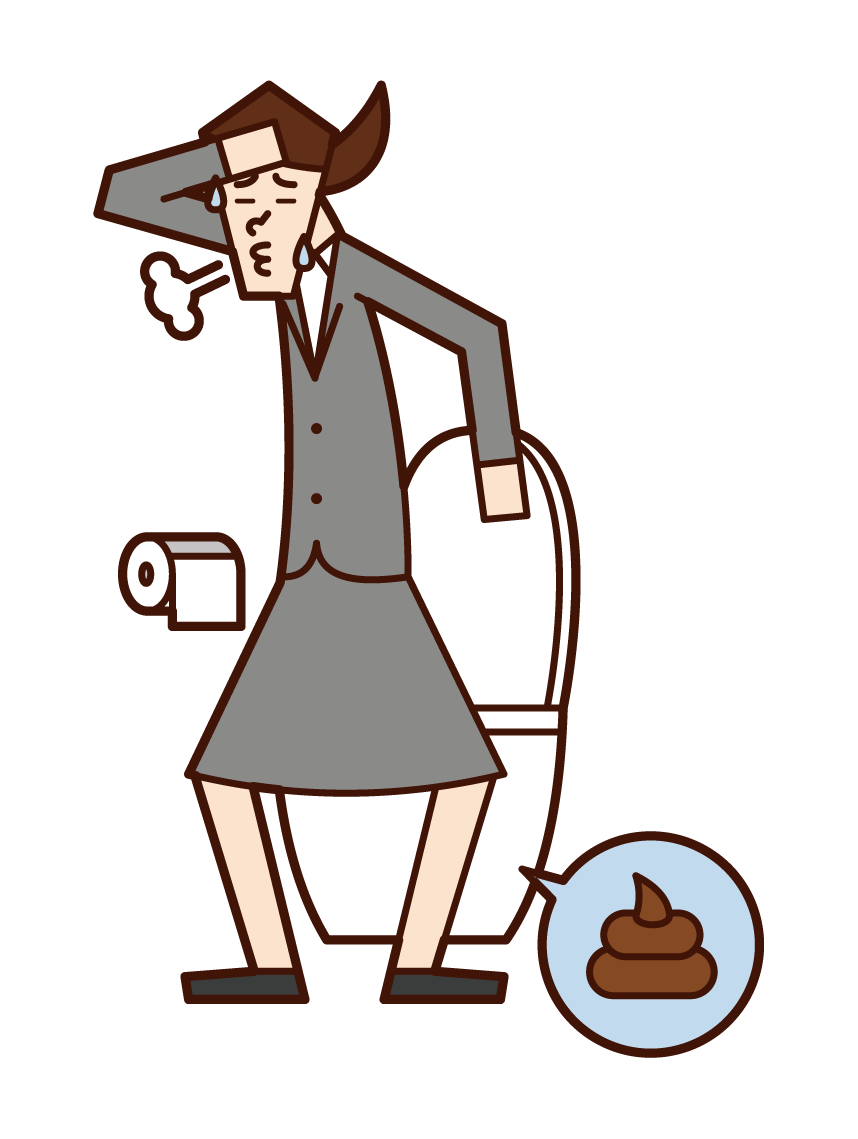 Illustration of a person (woman) who defecated and refreshed
