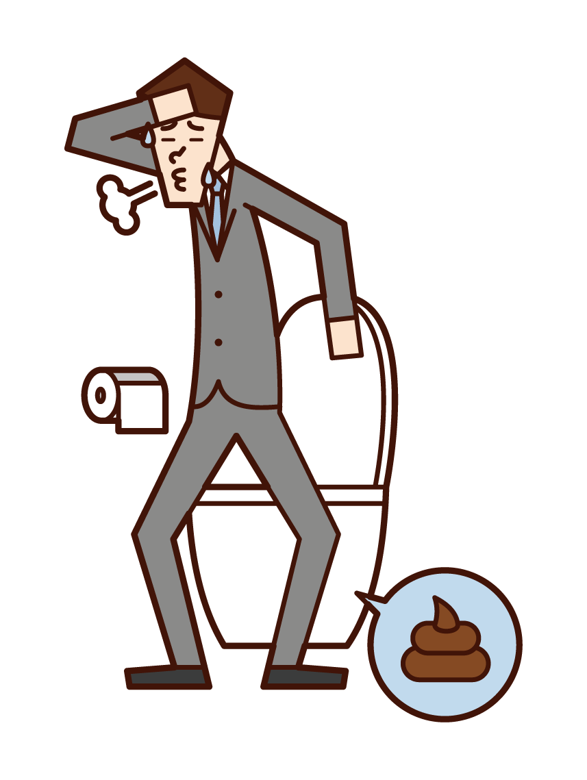 Illustration of a person (male) who defecated and refreshed
