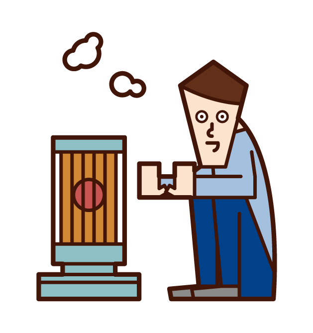 Illustration of a man warming up with a stove