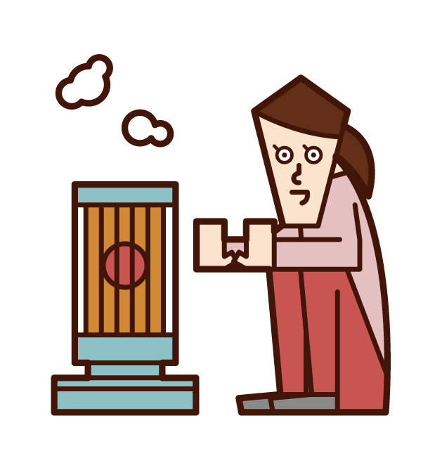 Illustration of a woman warming up with a stove