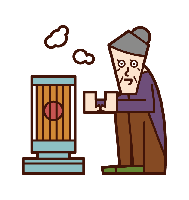 Illustration of a person (grandmother) warming up with a stove