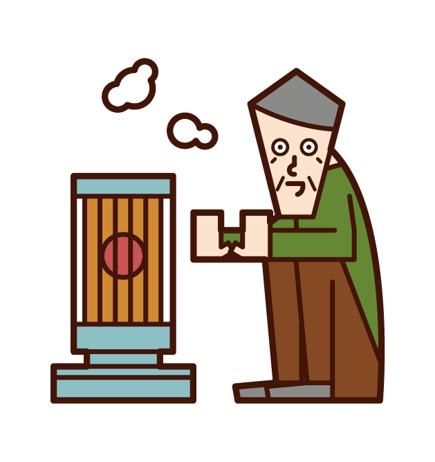 Illustration of a person (grandfather) warming up with a stove