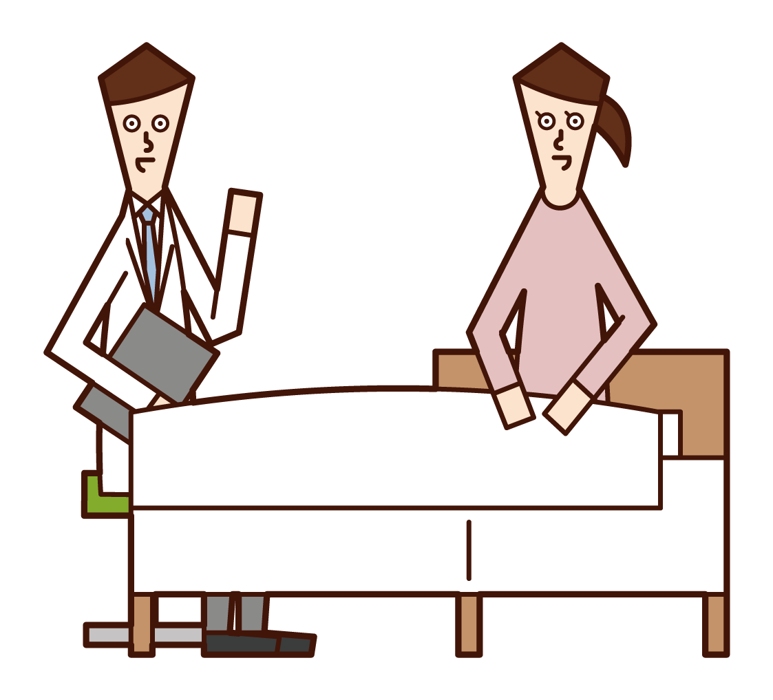 Illustration of a patient (female) talking with a doctor