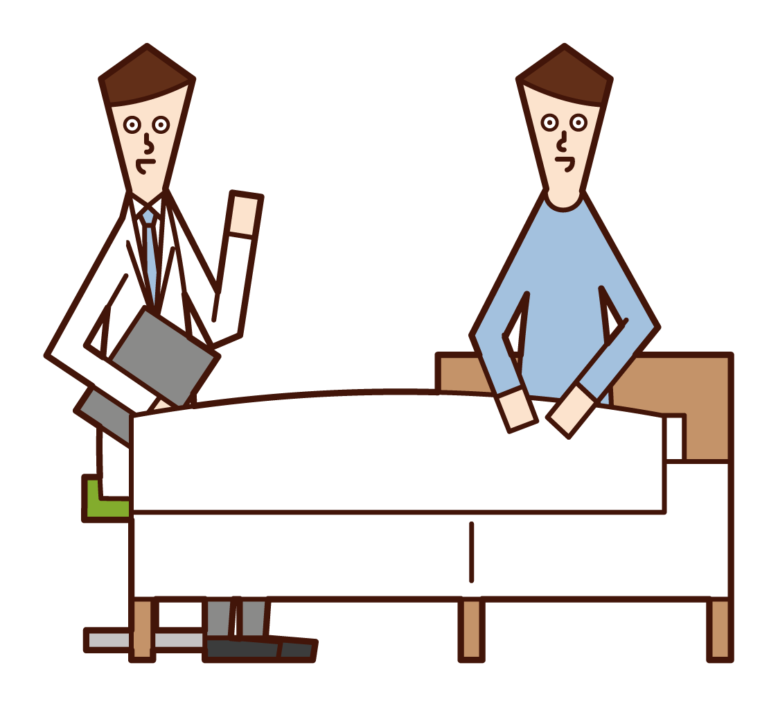 Illustration of a patient (male) talking to a doctor