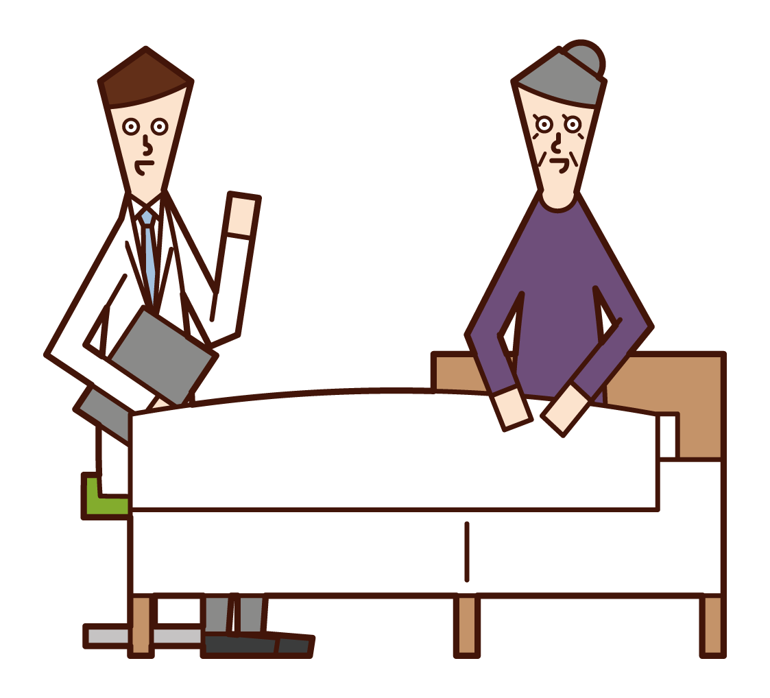 Illustration of a patient (grandmother) talking to a doctor