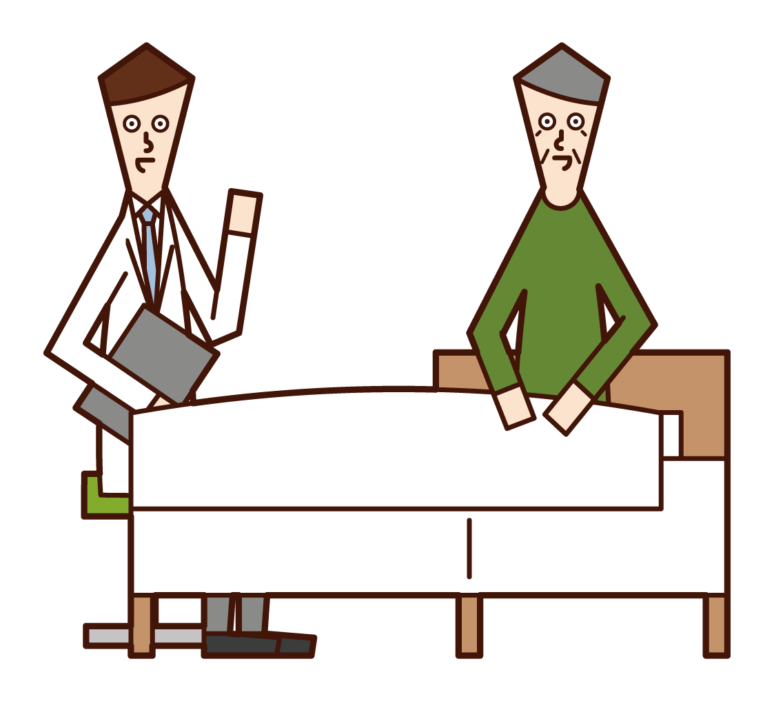 Illustration of a patient (grandfather) talking to a doctor