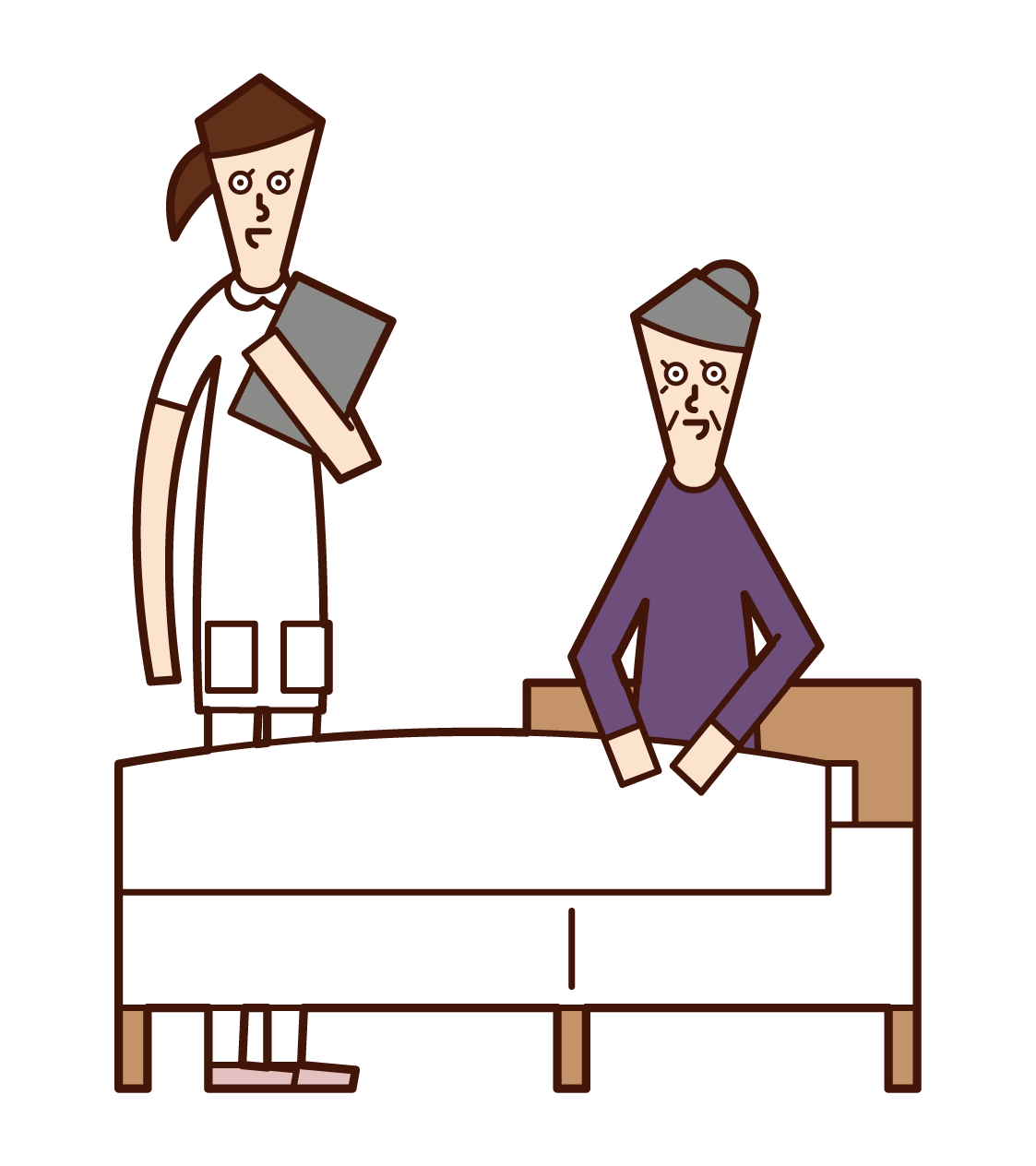 Illustration of a patient (grandmother) talking with a nurse