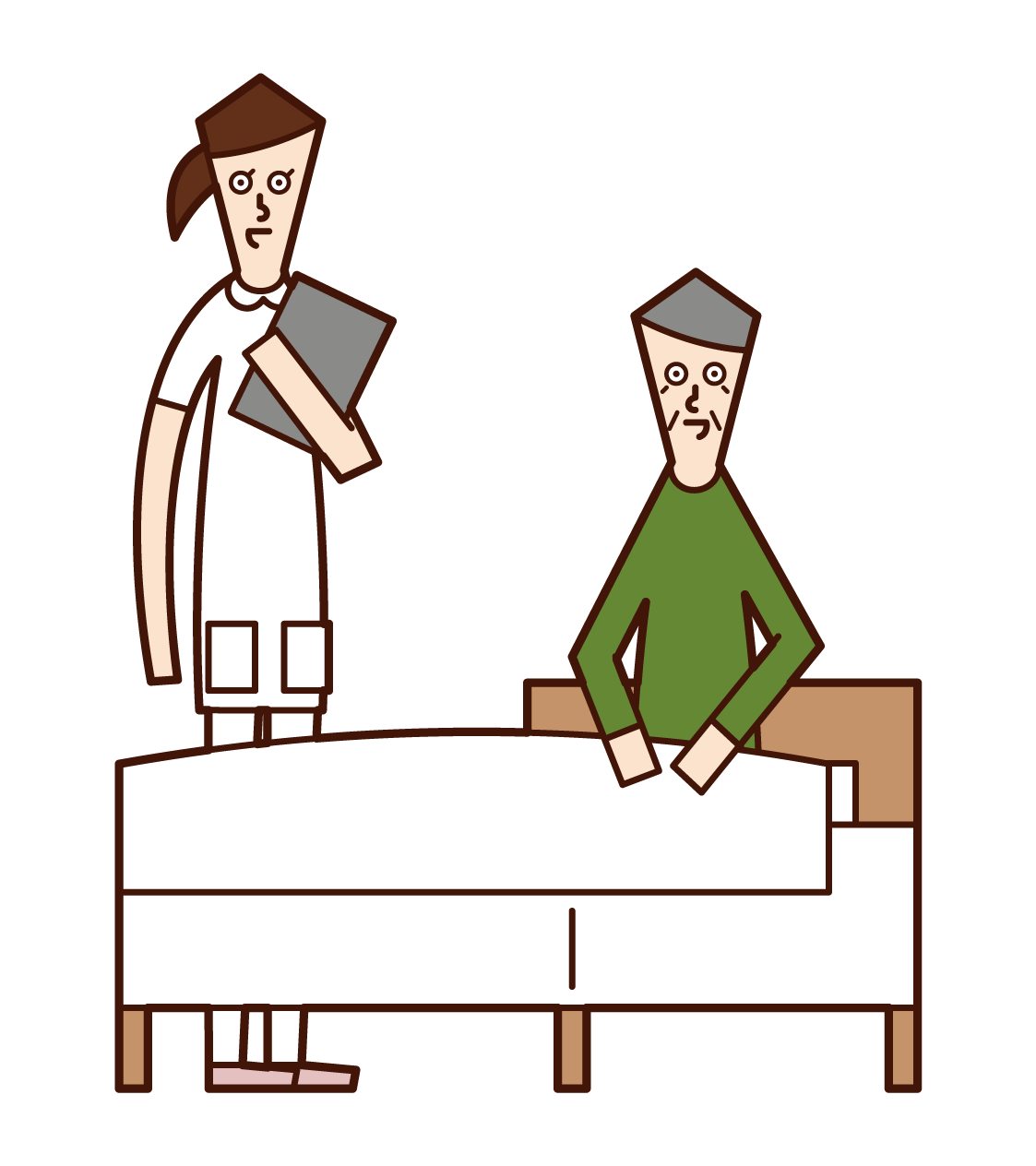 Illustration of a patient (grandfather) talking with a nurse