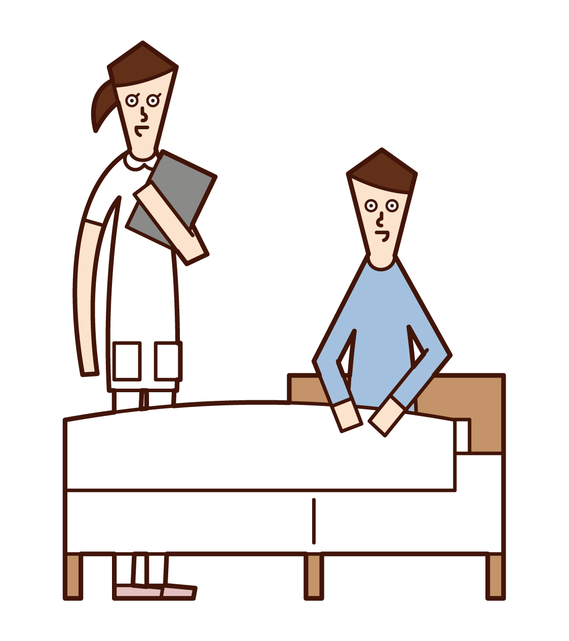 Illustration of a patient (male) talking with a nurse