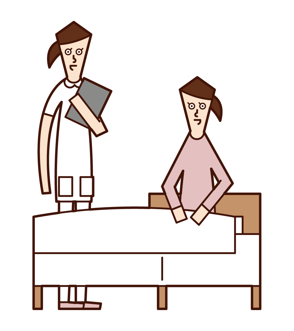 Illustration of a patient (female) talking with a nurse