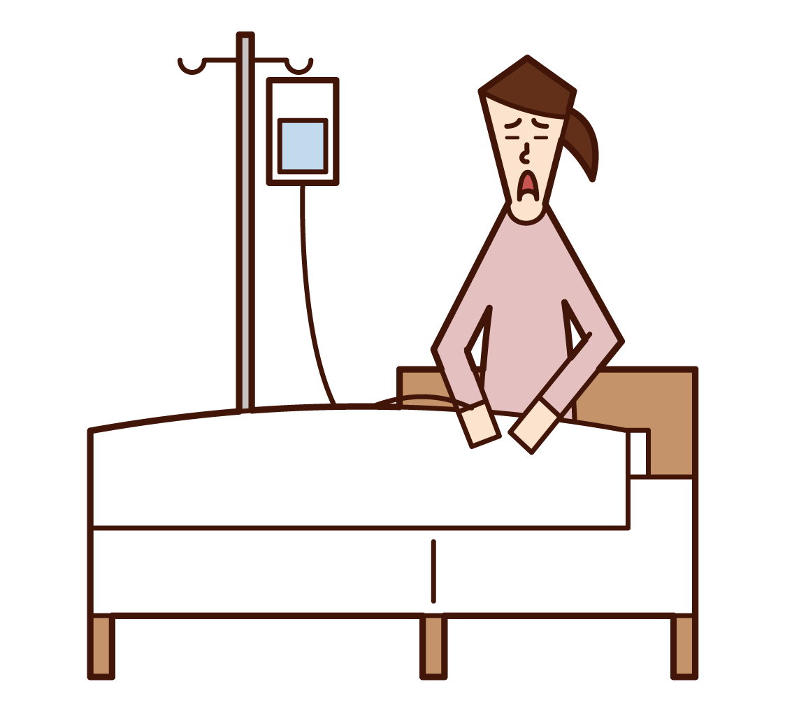 Illustration of a hospitalized patient (female)