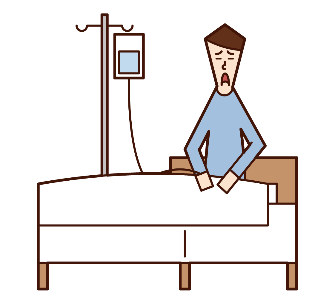 Illustration of a patient (male) in hospital