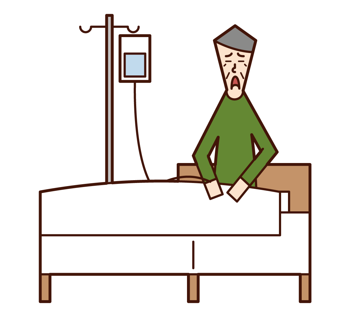 Illustration of a patient (grandfather) in hospital