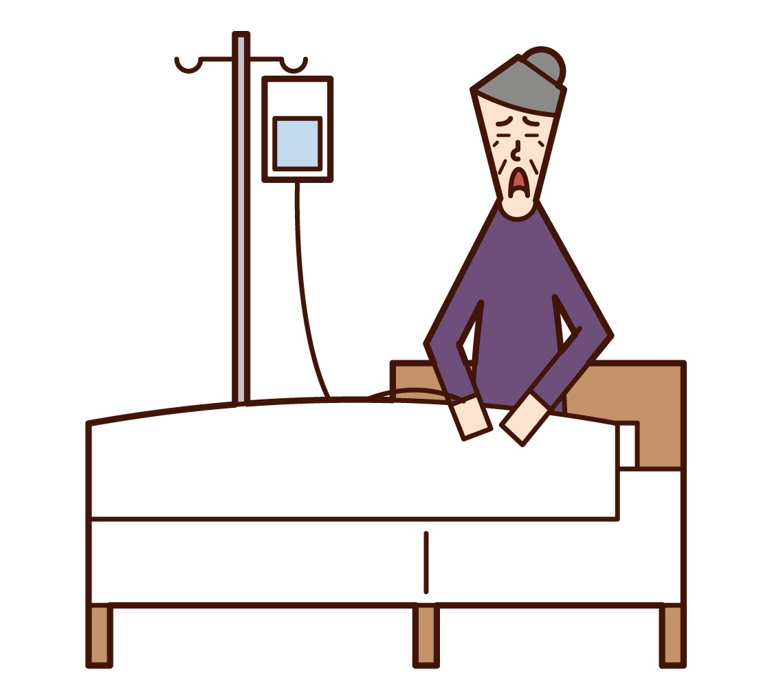 Illustration of a patient (grandmother) in hospital