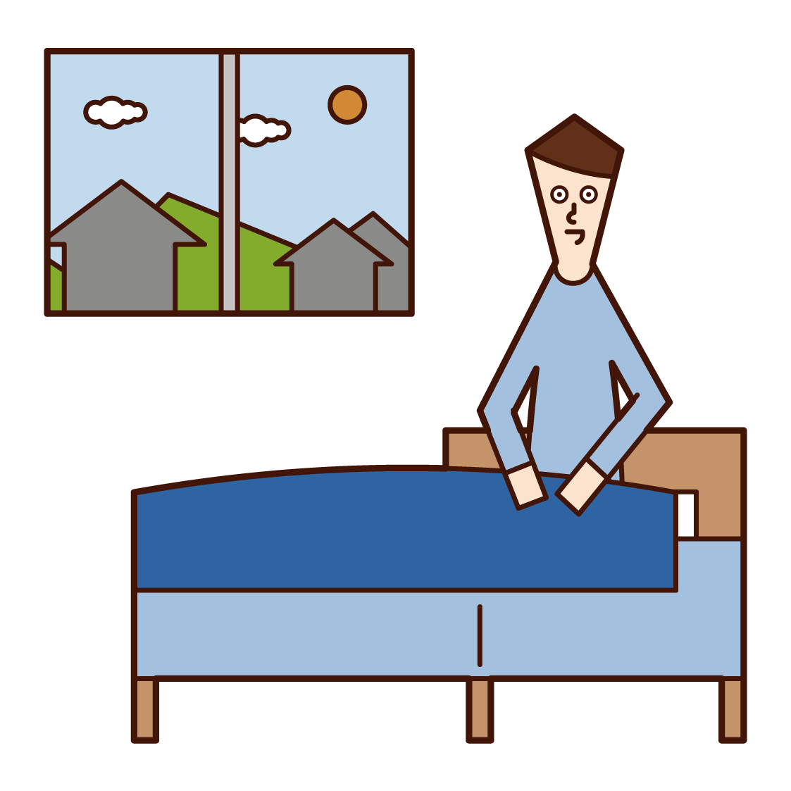 Illustration of a man getting up